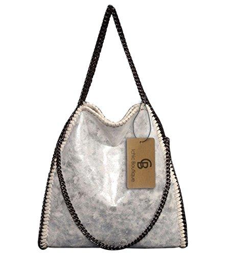 Damen Handtasche Kettenbeutel Schultertasche Umhängetaschen Henkeltasche Mädchen - 38/40/12 cm (B*H*T) Silber-Weiß