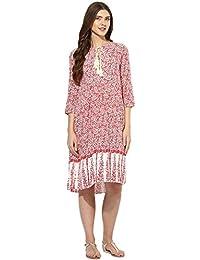 Mine4Nine Women's Red Floral Printed Border Maternity Dress