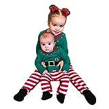 Riou Weihnachten Set Baby Kleidung Pullover Pyjama Outfits Set Familie Infant Baby Jungen Mädchen Jungen Weihnachten Xmas gestreiften Kapuzenspielanzug Jumpsuit Outfit (80, Grün B)