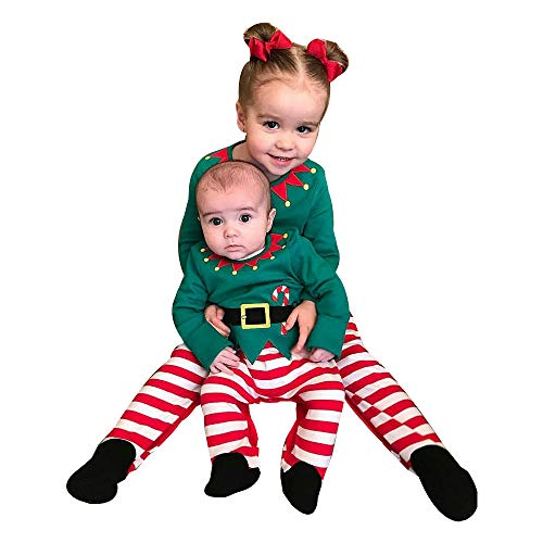 Riou Weihnachten Set Baby Kleidung Pullover Pyjama Outfits Set Familie Infant Baby Jungen Mädchen Jungen Weihnachten Xmas gestreiften Kapuzenspielanzug Jumpsuit Outfit (80, Grün B) (Familie Baby Kostüm)