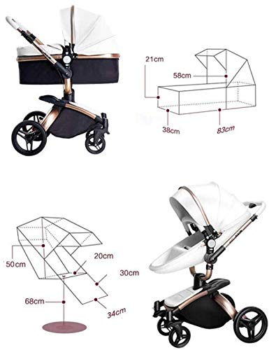 LAZ 2 in 1 Baby Stroller High Landscape 360°Rotating Seat with Lying Position Lightweight Folding Two-Way Awning Storage Basket (Color : Black Rose) LAZ Suitable for baby strollers from birth to 25 kg, each stroller is pressure tested to ensure the safety of each baby. 【TRAVEL SYSTEM FOR OUTDOOR DEMANDS】Our foldable pram pushchair is the best choice for family to go out, which is convenient, saving time and energy while in traveling. When using some vehicles, this foldable will not be trouble, just fold it and carry as the detachable handrail is convenience for use and storage. 【360°SWIVEL SHOCK PROOF WHEELS】We use high-quality materials for wheels which makes it shock proof and also available for long time daily use. It can rotate easily according to your operate. And the 360 degrees swiveling front wheels also features built-in suspension for easy maneuverability. 3