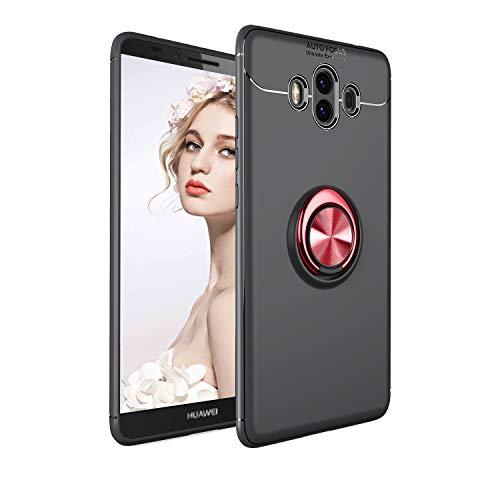 Weich Silikon Hülle für Huawei Mate 10,Ultra Slim Matt Hülle für Huawei Mate 10,Moiky Stilvoll Stoßfest HandyHülle mit Auto Magnet Metall 360 Ring Halter Ständer Hülle - Schwarz + Rot