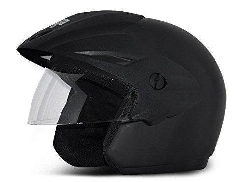 Vega Cruiser CR-W/P-DK-L Open Face Helmet (Dull Black, L)