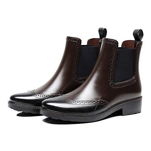 Frauen Regen Stiefel Wasserdicht Schwarz Slip On Kurze Gummi Regen Stiefel Anti Slip Damen Brogue Stil Erwachsene Regen Schuhe für Gartenarbeit Braun Size 37