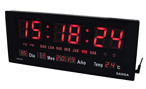 Sanda SD-0015 Reloj Digital de Pared y Mesa Led Color Rojo Calendario Termometro Alarma Despertador Clock Hora Fuente de Alimentacion