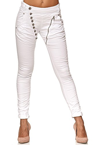 Elara Damen Jeans   Knopfleiste   Reißverschluss   Chunkyrayan C613K-1/F1 White 44