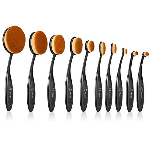 BESTOPE Oval Makeup Pinsel Set 10 Stück Pinselset Kosmetik Schmink Pinsel in Ovalem Zahnbürstendesign Professionelle Foundation Concealer Verblender Pinsel Flüssiges Pulver Creme Kosmetik für Gesicht und Augen (Make-up-pinsel-sammlung)