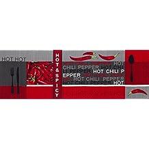 Andiamo 282565 alfombra mesa Hot Pepper, 100% poliamida, 67 x 250 cm, chili-rojo