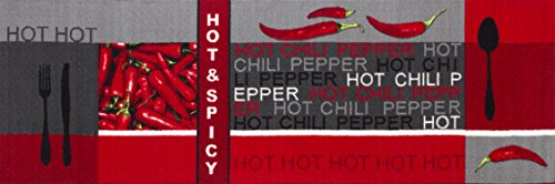 Andiamo 282565 Teppichläufer Küchenläufer Hot Pepper, Chili Schote, 67 x 200 cm, rot