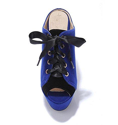GLTER Frauen Pumps Peep Toes High Heel Hausschuhe Wildleder Kampf Farbe Wasserdicht Fine Court Schuhe Sandalen Blue
