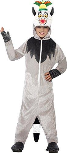 Smiffys, Kinder Unisex König Julien Lemuren Kostüm, All-in-One mit gepolstertem Kopf, Madagascar, Größe: M, (Halloween Kostüm Lemur)