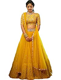 Stylevilla Collection Women s Silk Sequence and Embroidary Semi Stitched  Lehenga Choli (Zel-STY- 90b2a39ab