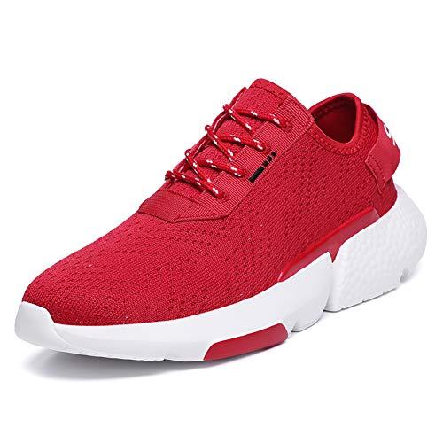 Scarpe da Running Uomo Ginnastica Corsa Casual Maglia Leggere Sneakers Sportive Fitness all'aperto(Rosso,48 EU,29CM dal Tallone alla Punta