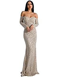 Missord women s High Neck Sleeveless Glitter Retro Maxi Party Elegant Dress c5472c7ab909