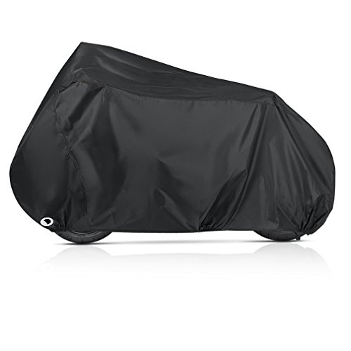 Funda Protector para Moto Vanwalk Cubierta de Motocicleta Impermeable Anti UV para Honda, Yamaha, Suzuki, Harley (245x105x125cm, Negro)