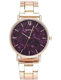 ZXMBIAO Reloj De Pulsera Moda Mujer Oro Rosa Acero Mármol Patrón Relojes De Pulsera Relojes De