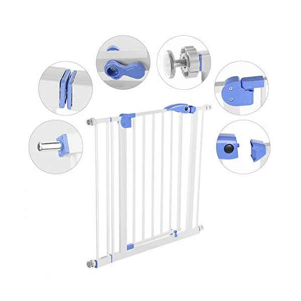 Baby Children Safety Gate Door Auto Close Swing Shut Stair Fence Pet Protection High and Wide Pressure Fit Safety Gate Ideal None Screw Stable and Durable Protective Safety Gate for Babies or Pets Ejoyous ღ Auto Close Double Lock 100% Safe ღ This Safety Gate Door adopt double lock and auto close design. There are 2 locks separately located on the top and bottom of the gate, which makes sure that your kids won't accidentally open it and get out. Besides the auto close design also buy you an insurance for careless forgetting to close it. Also it can locate 90 ° normally open, very convenient for long time in and out. These triple protection let your baby totally free from danger ღ Pressure Fit Set Easy Assemble ღ There is no need of any drilling work. The 4 pressure point will let the Safety Gate be firmly and stably fixed on the wall. Extremely easy to get the assemble job done or disassemble to move it to any place else ღ 85-94cm Wide High Versatility ღ The original wide(81 cm) plus extension accessories (10 cm) makes a total 91 cm wide along with the extension pressure point can let the gate be set at 85-94cm doorways, hallway or stairway (the most common wide of house design). You are free to choose using extension accessories or not 3