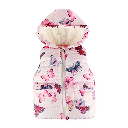 XXYsm XXYsm Baby Mädchen Weste mit Kapuze Mantel Winter Jacke Herbst Ärmellos Schmetterlings Blumen drucken Outwear Waistcoat Rosa ?90/18-24 Monate