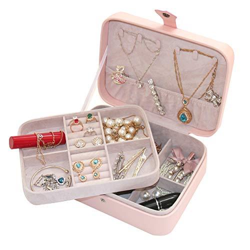 (YANHTSO Exquisite Schmuckschatulle weibliche Prinzessin einfache europäische Schmuckschatulle Ohrringe Ring Halskette Aufbewahrungsbox (Farbe : Twill Powder))