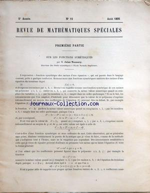REVUE DE MATHEMATIQUES SPECIALES [No 11]...