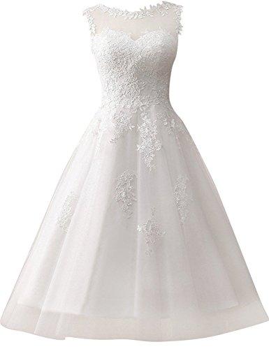 Brautkleid Hochzeitskleider A Linie Tüll Spitze Brautmode Damen Festkleider Wadenlang Weiß EUR32