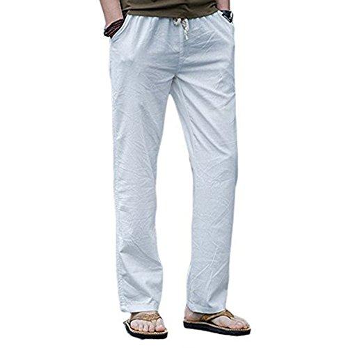 Juleya Herren Strandhosen Bequem Atmungsaktiv Sommerhosen Loose Leicht Leinenhosen Männer Lange Hosen Einfarbig Lässige Freizeithose Mit Seitentaschen
