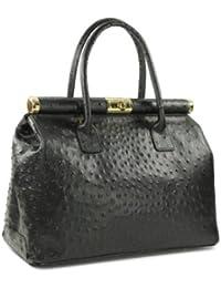 Belli ® italien sac à main de sac en cuir poignée autruche relief noir Taille XL - 34x25x16 cm (L x H x P)