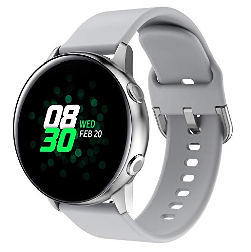 Sport Cinturino per Samsung Galaxy Watch Active,Colorful Morbido Silicone Ricambio Classico Cinturini per Samsung Galaxy Watch Active,Donne Uomini (Grigio)