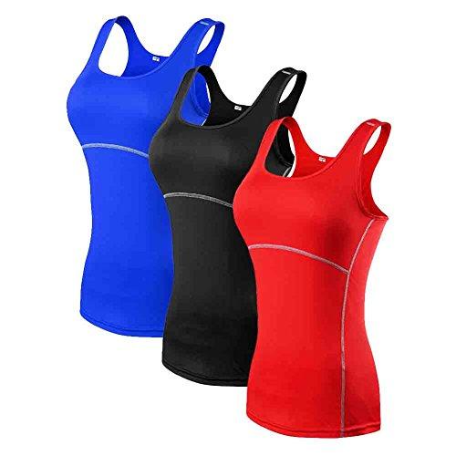 Amazmall Femme Compression sous Couche de base Sport Dry Fit Débardeur A2:Blue,Black,Red