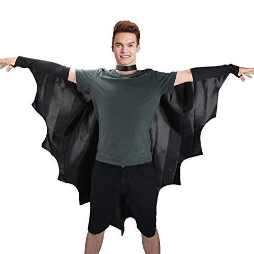Einfache Fledermaus Kostüm Flügel - Proumhang Vampir-Fledermausflügel Fledermausflügel Schwarzer Umhang Cape Vampir Kostüm Halloween Erwachsener Unisex