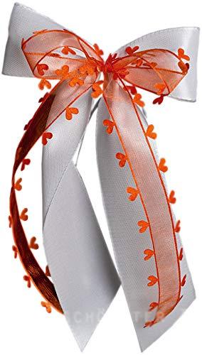 unser schönster Tag 15 Autoschleifen Hochzeit Herz SCH0113 weiß orange