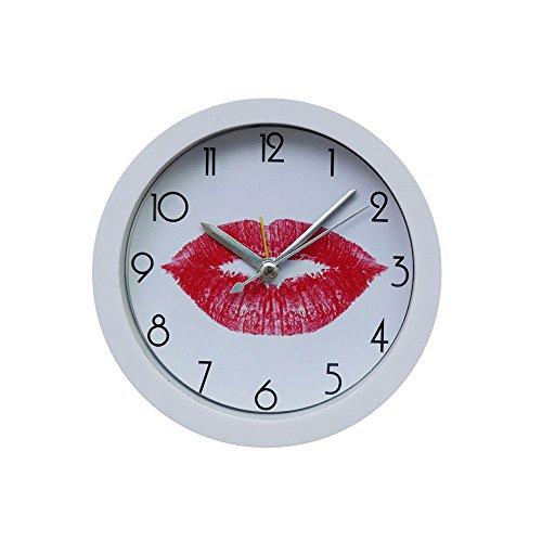 Elecenty Home Decor Happy Emoji-Valentine 's Day Rote Lippen Wecker, Rund Wanduhr Geräuschlos Silent Uhr Kunst Wohnzimmer Küche Schlafzimmer