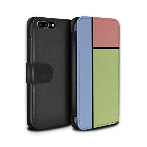 Stuff4 Coque/Etui/Housse Cuir PU Case/Cover pour Apple iPhone 8 Plus / 5 Carreaux/Vert Design / Carreaux Pastel Collection 3 Carreaux/Vert