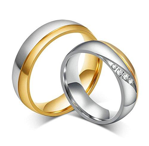 Jiedeng Schmuck Herren Ringe aus Edelstahl Ring mit Zirkonia CZ 6MM Freundschaftsringe Partnerringe Ehering Trauringe für Herren-Ring Gold Silber (mit Geschenk Tüte) Größe 65 (Kostüme Flash Womens)