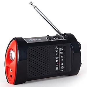 Duronic Alarme / Lampe Torche / Boussole / Sifflet / Lampe torche lanterne / Radio AM/FM Appareil écologique à manivelle / panneaux solaires / chargeur USB de Duronic