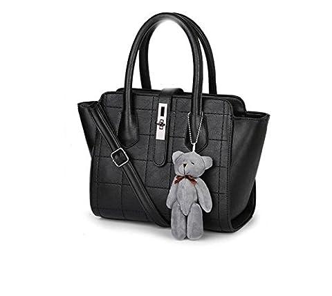HQYSS Damen-handtaschen Frauen PU-lederner einfacher wilder Schulter-Kurier-Handtaschen-Normallack-große Kapazität Crossbody Beutel-Einkaufstasche , black (bear pendant)