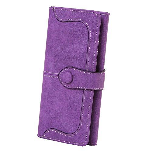 Bdawin Portafogli da donna di Cuoio Pulsante Lungo Bifold Borsa per Telefono,A774 Verde Viola
