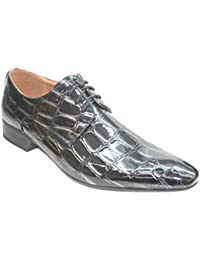 Chaussures Hommes - Vernis Gris Aspect Croco
