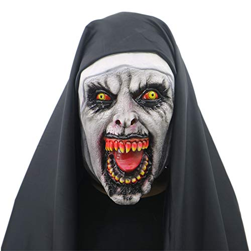 WYJSS Halloween Maske Ghost Festival Horror Vampir Schädel Cosplay Maske Latex Scary,Black-OneSize