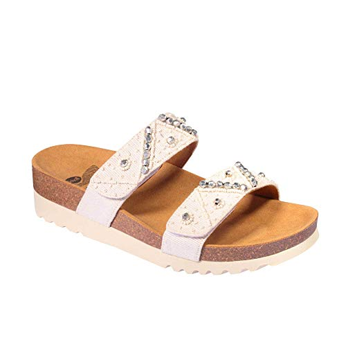 Dr.scholl zafirah off white ciabatta canvas + perline velcro (38)