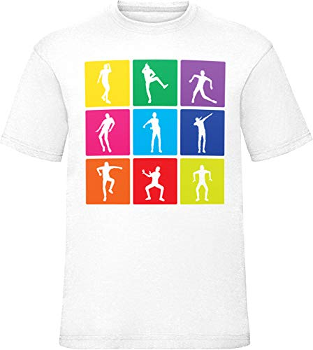 9ba2254c Kids Disco Dancing 9 Box Emotes Boys Girls Celebration T Shirt White 9-11  Years