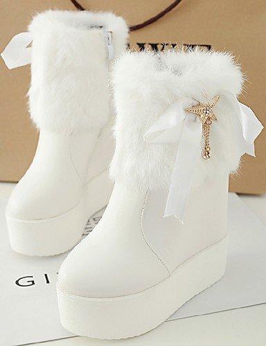 ShangYi Mode Frauen Schuhe Damen Stiefel Winter Stiefel / Runder PU and Keilabsatz Andere Andere Schwarz / Weiß Weiß