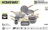 HOMEWAY - 13 PIECE MARBLE COATED COOKWARE SET, BAKING TRAY + CASSEROLE + COFFEE WARMER + FRYING PAN + SAUCE PA