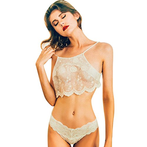 LCLrute Qualitäts Lingerie Women Underwear Babydoll Sleepwear Lace Bra Dress G-string Set (XL, Weiß) (Dessous-sortiment)