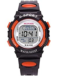 HOT, Waterproof Children Boys Digital LED Sports Watch Kids Alarm Date Watch Gift OR By YANG-YI