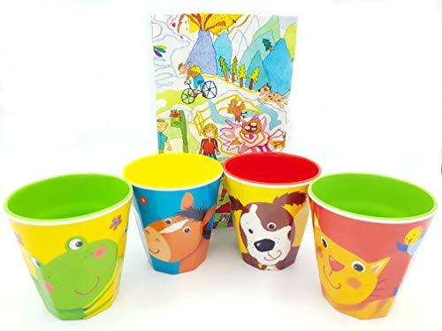 Die Spiegelburg Melamin Becher Set Freche Rasselbande 4-teilig Frosch Katze Pferd Hund Trinkbecher Geschirr (rot/grün) (Süßes Geschirr Für Hunde)