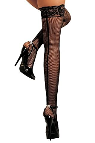 Plus Size Lace Top Fishnet Back Seam Stay Up Stockings (Black, Plus Size Queen UK 14 to 20)