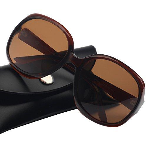 Vintage Damen übergroßen Sonnenbrille Polarisiert Elegant Square Sunglasses P1981D Brown