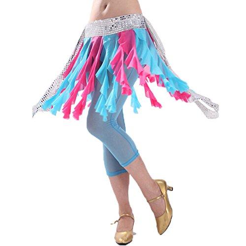 Belly Dance Scarf Hip Belle Glands Costume Bleu et Fuchsia