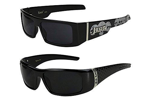 2er Pack Locs 9058 X09 Sonnenbrillen Unisex Herren Damen Brille - 1x Modell 07 (schwarz glänzend - Skull-Design / schwarz getönt) und 1x Modell 08 (schwarz glänzend - Square-Design / schwarz getönt) (Locs Sonnenbrille Skull)